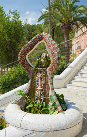 BARCELONA, SPAIN- AUGUST 4: detail of Parc Guell international attraction made by Antoni Gauda on  august 4, 2016 in Barcelona Editorial
