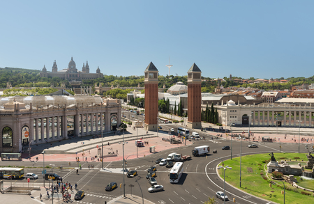 BARCELONA, SPAIN- AUGUST 8: view square of Spain is one of the most significant of the Catalan capital and was built during the Universal Exhibition of 1929 on august 8, 2016 in Barcelona - Spain
