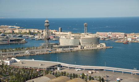 montjuic: BARCELONA, SPAIN- AUGUST 3: panoramic view of Barcelona Port from Montjuic park on  august 3, 2016 in Barcelona Editorial