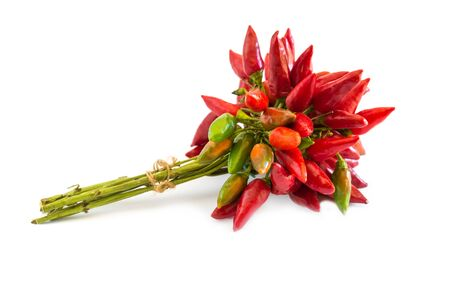 capsaicin: Bunch of red hot chili pepper on white Stock Photo