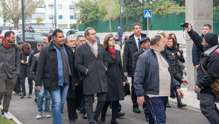 italian politics: Naples-Italy-December 19, 2016: The president of the Chamber Laura Boldrini visit Scampia district and meet its people with the mayor De Magistris. Scampia is the set of Gomorrah fiction.