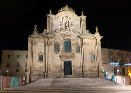 st  francis: Facade by night of Church of St. Francis of Assisi in Matera - Italy