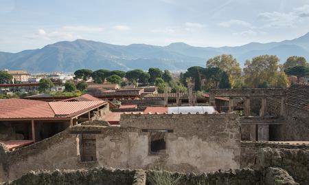 POMPEII, ITALY- NOVEMBER 13, 2016: panorama of Pompeii. It  was declared in 1997