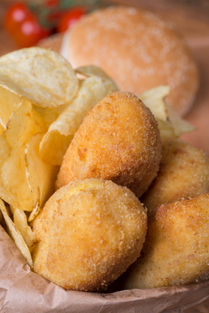 zeppole: typical neapolitan food  potato croquettes fried made ??with mozzarella cheese and diced bacon