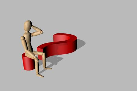 3D render wooden dummy looking question mark Stock Photo