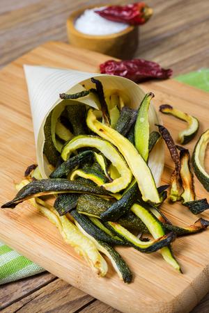 julienne grilled zucchini in bambu cone