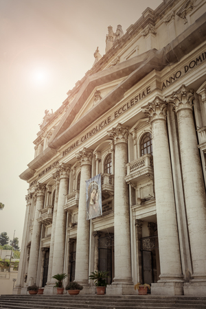 incarnate: Detail of the exterior facade of the Basilica of the Incarnate Mother of the Good Council Stock Photo