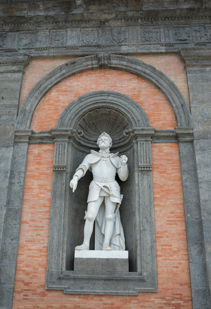 Marble statue of Gioacchino Murat site on Plebiscitos Square on the facade of Royal Palace in Naples