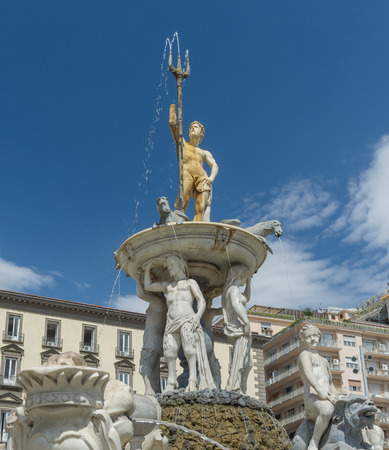 Particular of Neptune fountain placed on  the Town Hall Square in Naples- Italy
