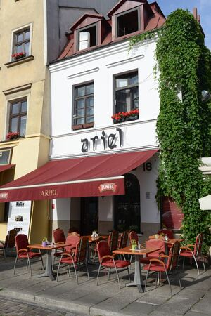 KRAKOW, POLAND-AUGUST 6, 2017:a restaurant where he used to eat Steven Spielberg while filming the Schindlers list