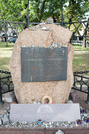 jewish star: KRAKOW, POLAND-AUGUST 3, 2017: place of meditation site in jewish quarter kazimierz upon martyrdom of 65 thousand polish citizens of jewish nationality during second world war.