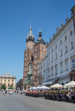 Krakow, Poland - August 3 2017: St. Marys Basilica in Main Square. Editorial
