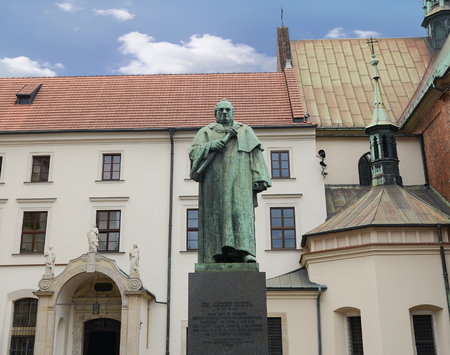 Krakow - Poland August 4,2017:statue of Joseph Dietl, an Austrian doctor - Polish and professor of the Jagiellonian University, elected as its rector in 1861 Sajtókép