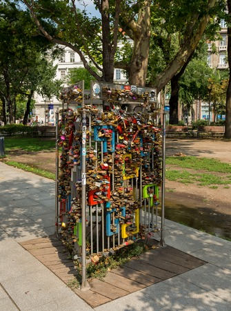 Budapest, Hungary - 3 august, 2018: iron shelf to hang locks of lovers