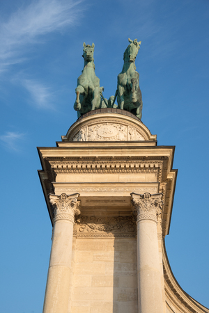 Budapest, Hungary - 8 august 2018: statue and architecture detail in Heroes Square