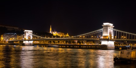 Nightview  of The Chain Bridge on the Danube river - Budapest - Hungary