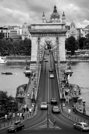 Budapest, Hungary - 3 august, 2018: aerial view of the Chain Bridge.