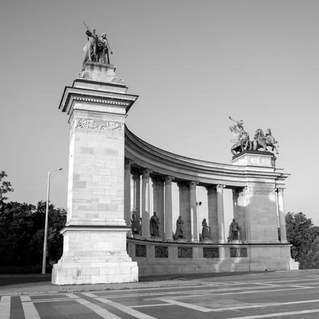 Budapest, Hungary - 8 august 2018: view of Heroes Square and undefined people