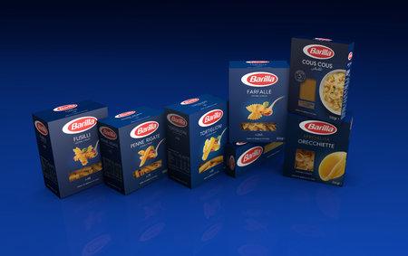 Italy -May 12, 2020: 3D rendering pack of Barilla Italian pasta illustrative editorial Redakční