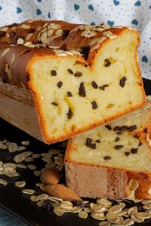 soft sweethomemade bread with oats and chocolate drops