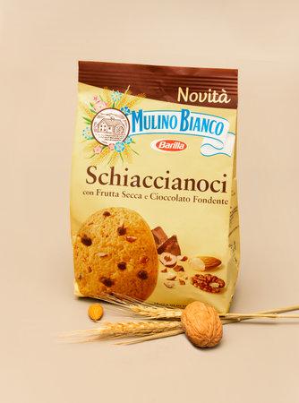 Italy, november 2020: pack of nutcracker cookies Barilla illustrative editorial Editöryel