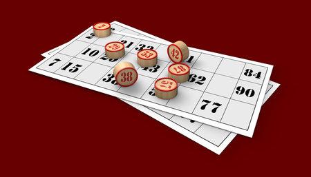 3D rendering Neapolitan bingo numbers on red table