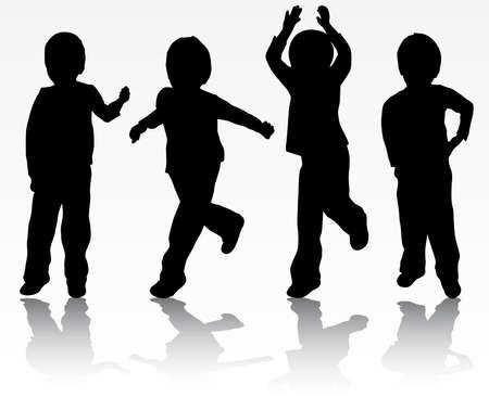 silueta niño: Novios felices siluetas Vectores