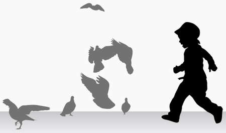 outoors: Boy with pigeons