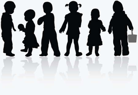 Kinderen silhouetten Stockfoto - 30391165