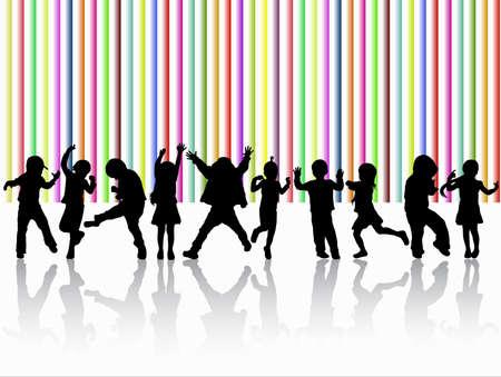 niños bailando: niños bailando siluetas Vectores