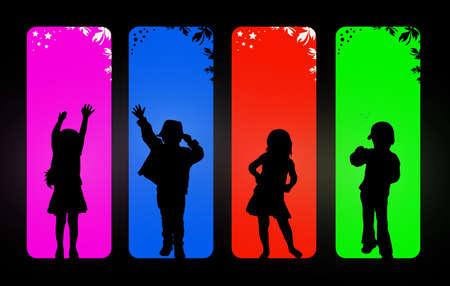 sillhouette: Children silhouettes