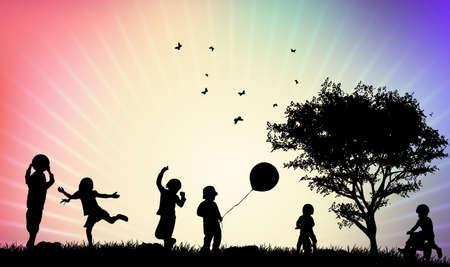 Kinderen silhouetten