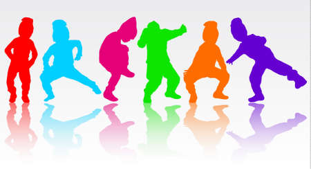 niños bailando: Boy silueta