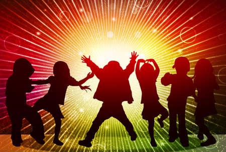 niños bailando: Siluetas de niños felices