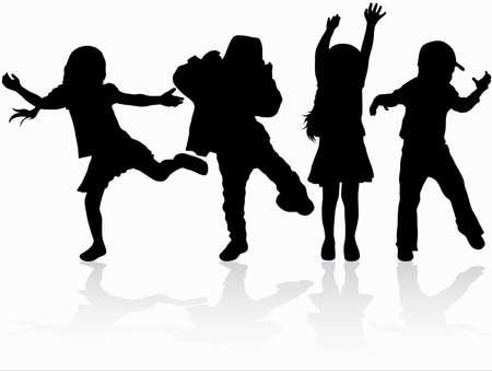 Dansende kinderen silhouetten