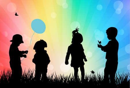 bimbi che giocano: Bambini che giocano all'aperto Vettoriali