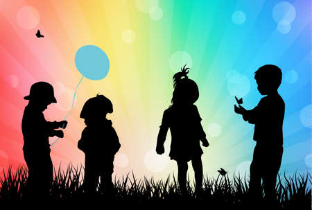 Children playing outdoors Vector