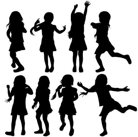 Siluetas de las muchachas Ilustración de vector