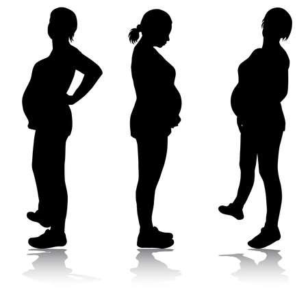 임신 한 여자의 실루엣