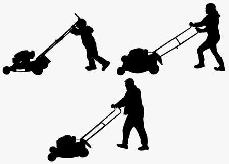 cutting grass: Working family Illustration
