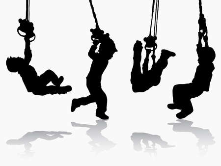 palying: Boy gymnastic silhouette Illustration