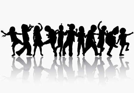 little girl dancing: Dancing children silhouettes