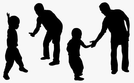 high five: Grandfather and grandson together