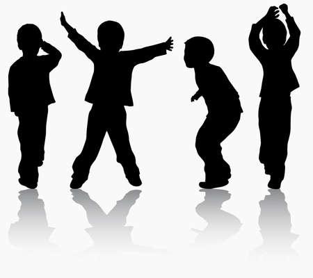 Boys silhouettes Ilustração