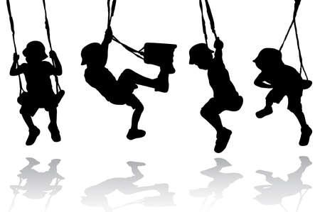 silueta humana: Boy en el columpio Vectores