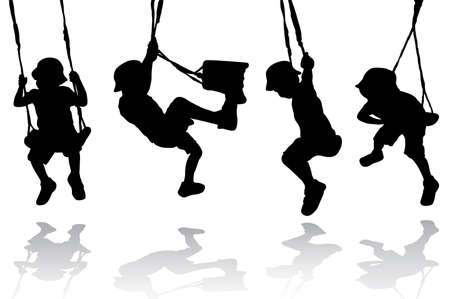 parents and child: Boy on the swing Illustration
