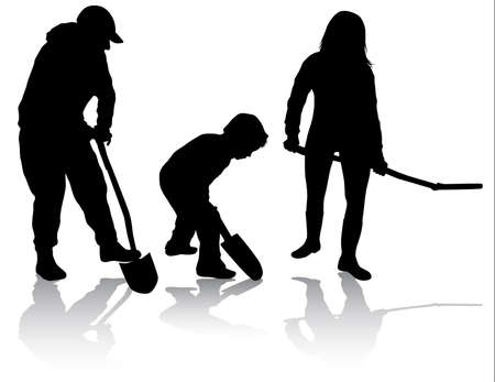 digging: Family working together Illustration