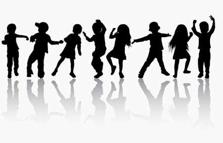bailarines silueta: Niños siluetas