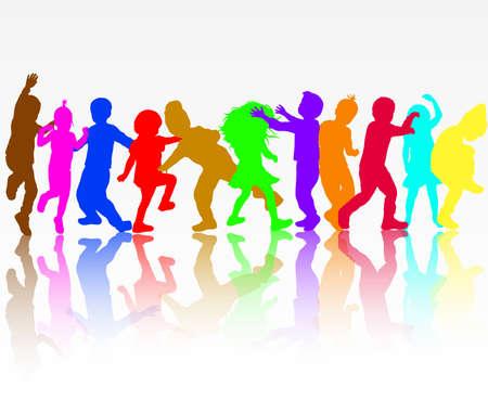 niños bailando: Bailando siluetas de los niños