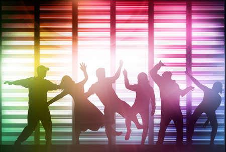 Gelukkig dansende mensen silhouetten